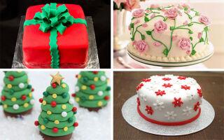 Торт украшенный клубникой и маршмеллоу